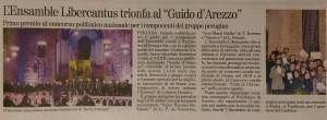 Giornale dell'Umbria di mercoledì 2 dicembre 2015 pag. 51 «L'Ensemble Libercantus trionfa al %22Guido d'Arezzo».