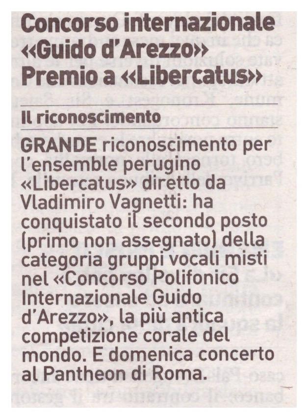 """La Nazione, 31 agosto 2016 pag. 10. """"Concorso Internazionale Guido d'Arezzo. Premio a Libercantus""""."""